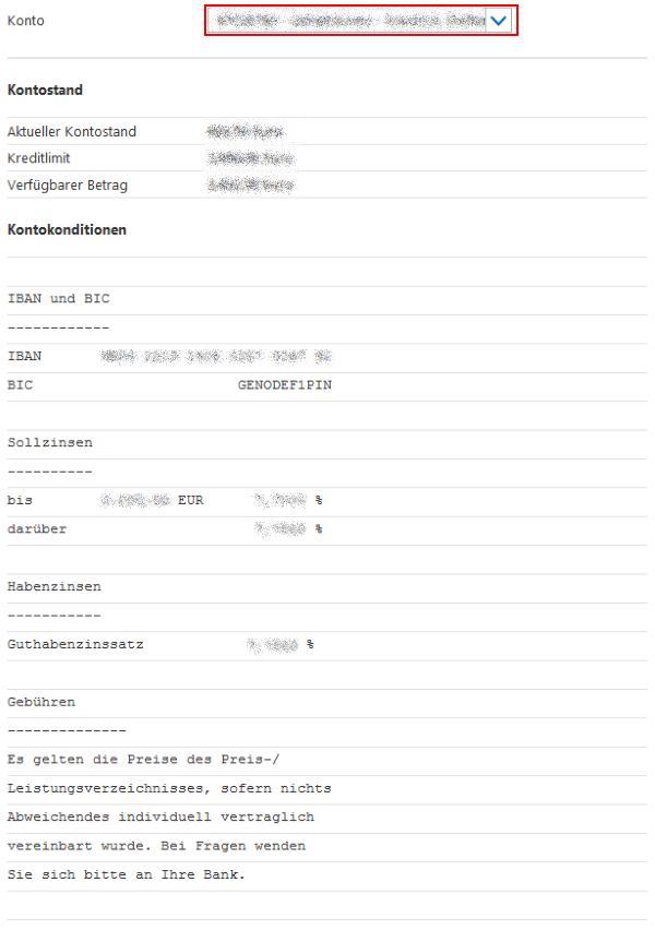Kontodaten verwalten - Konditionen anzeigen - Schritt 2