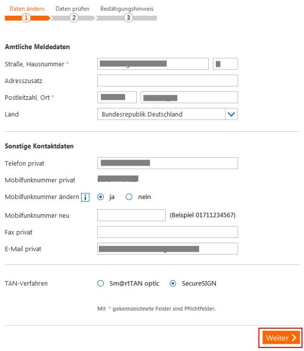 Persönliche Daten verwalten - Kontaktdaten verwalten - Schritt 2